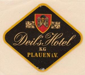 Germany Plauen Deil's Hotel Vintage Luggage Label sk3838