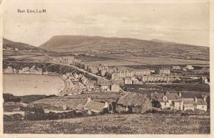 Port Erin Isle of Man panoramic view village & harbor antique pc Z46047