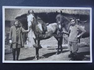 BOY & GIRL WITH WHITE & BLACK SPECKLED HORSE AT STABLE early RP Postcard