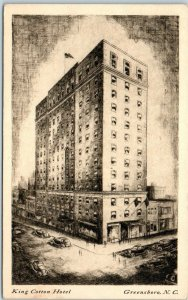 Greensboro, North Carolina Postcard KING COTTON HOTEL Artist's Engraving c1940s