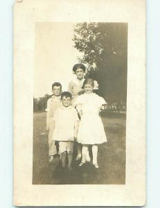 Pre-1918 rppc PRETTY GIRL WITH BROTHERS & MOM r5969