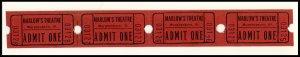 4- Marlow's Movie Theatre 'Admit One' Tickets, Murphysboro, Il...