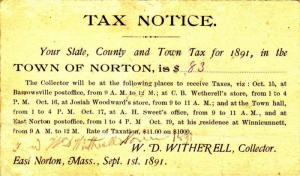 ADV: Tax Notice, Town of Norton, Massachusetts 1891