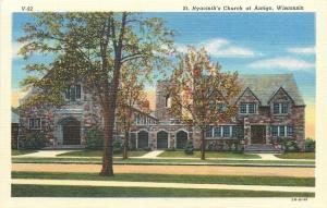 Antigo Wisconsin~St Hyacinths Church~Triple Arch Entrance~1940s Postcard