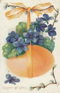 EASTER Wishes, Easter Egg hanging from ribbon and flowers, PU-1907; TUCK