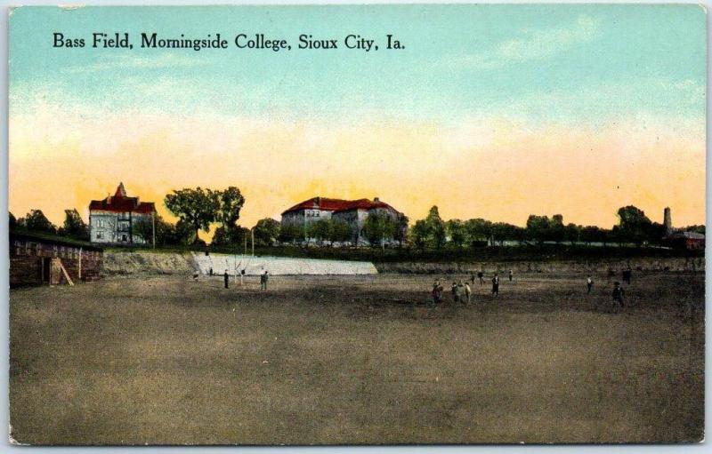 Sioux City, Iowa Postcard Bass Field, Morningside College Baseball Game c1910s