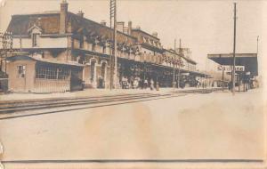 Midleton Ireland? Train Station Street Scene Real Photo Antique Postcard J55846
