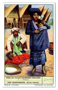 Malaysia Malaya, How Children are Carried Liebig Belgian Trade Card *VT28B
