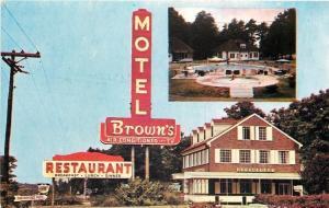 Fredericksburg Virginia~Brown's Motel & Restaurant~Neon Sign~Pool~1950s Postcard