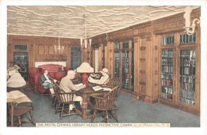 Atlantic City NJ~Hotel Dennis~Library Interior~Guests in Reading Room~Lumitone