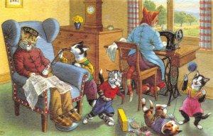 Dressed Cats Family Mainzer Art Anthropomorphic Comic #4861 Vintage Postcard