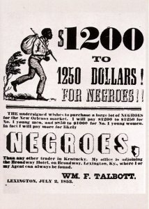Advertising - Slavery. $1200 to $1250 for Negroes  (5.75 X 4 Photo Reprint)