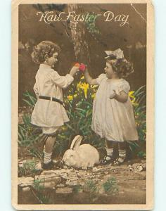 Divided-Back easter BUNNY RABBIT WITH GIRLS COLLECTING EGGS r3262