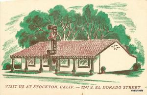 Artist Impression Mexico Cafe roadside Stockton California postcard 9999