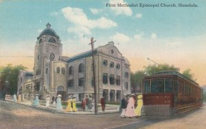 HONOLULU , Hawaii , 00-10s ; Trolly at First Methodist Episcopal Church