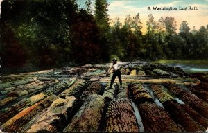 Washington A Washington Log Raft Curteich