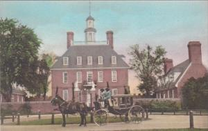 Virginia Williamsburg The Governor's Palace With Horse and Carriage Hand...