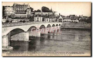 Old Postcard Amboise The bridge over the Loire and the Chateau