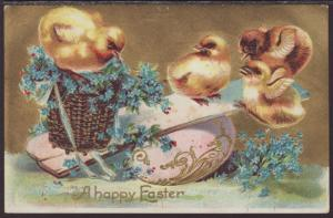 A Happy Easter,Chicks,Flowers