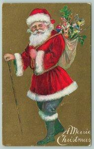 Christmas~Santa~Red Jacket~Black Pants~Knobby Head Walking Stick~Toys~Gold Back
