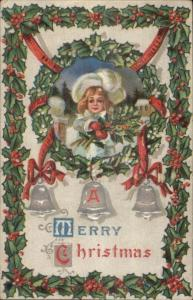 Christmas - Little Girl w/ Holly Branches - Silver Bells c1910 Postcard