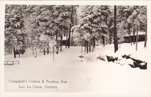Campbell's Cabins and Trading Post Lac La Croix Ontario Canada 1947 Real Photo
