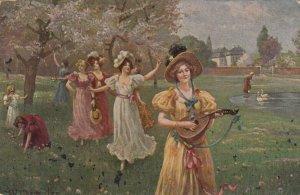 AS; W. MENSLER, 1900-10s; Woman dancing in field, feeding swans