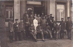 Soldiers In Uniform Posing With Nurse Soden Taunus Germany 1917 Real Photo