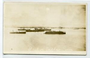 Ship Harbor Callao Peru RPPC Real Photo 1910c postcard