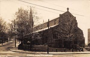 Hyde Park MA Trees Before Christ Church (Episcopal) 1911 RPPC