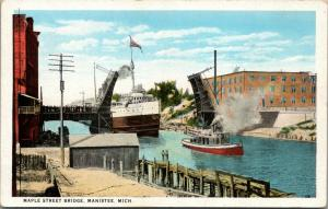Manistee Michigan~Crowd on Maple Street Bascule Bridge~Lift Bridge Up~Ship~1920s
