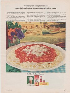 Chef Boy Ar Dee Complete Spaghetti Dinner 1965 Print Ad, Venice in Background
