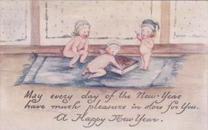 NEW YEAR; Three nude babies wearing bonnets on a rug with a book, Poem, 00-10s