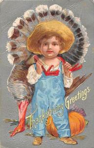 1808 Thanksgiving Young Boy holding dead Turkey