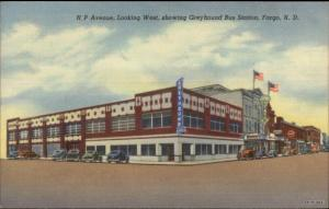 Fargo ND NP Ave Greyhound Bus Station Linen Postcard