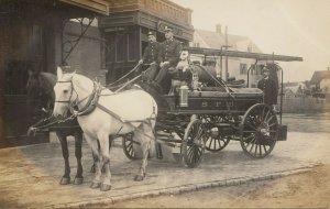 RP: SPRINGFIELD, Mass. , 00-10s ; Horse Drawn Fire Wagon w/ dog & Firemen