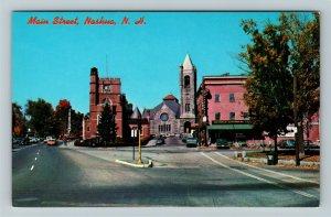 Nashua NH- New Hampshire, Main Street, Town Road, Chrome Postcard