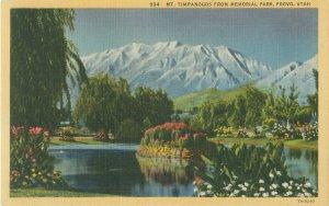 Provo UT Mt Timpanogos from Memorial Park Linen Postcard Unused