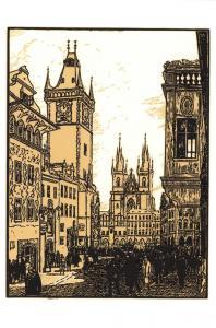 Art Postcard, Old Town Square, Prague, 1927, Czech Republic, Czechoslovakia 44i
