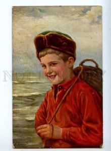 187534 Smiling Boy in Red shirt & HAT Vintage TSN #847 PC