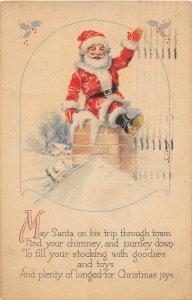 F96/ Santa Claus Christmas Postcard c1910 Mansfield Ohio Chimney 8