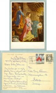 Christmas Card 1961.Christmas Night. With Christmas Seal. Adr:Sweden
