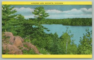Marinette Wisconsin~Lundgren Lake~View from Atop the Rocks~c1940~Postcard