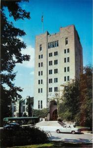Bloomington Indiana~University~Memorial Union Building~1950s Car~Postcard