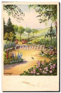 Old Postcard Fantasy Garden