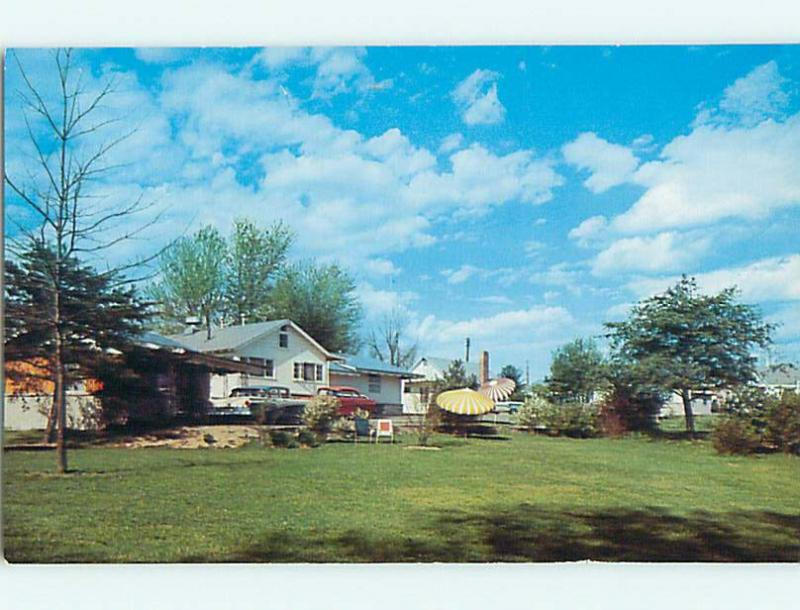 Unused Pre 1980 OLD CARS SINGING PINES MOTEL Nashville Indiana IN S6159