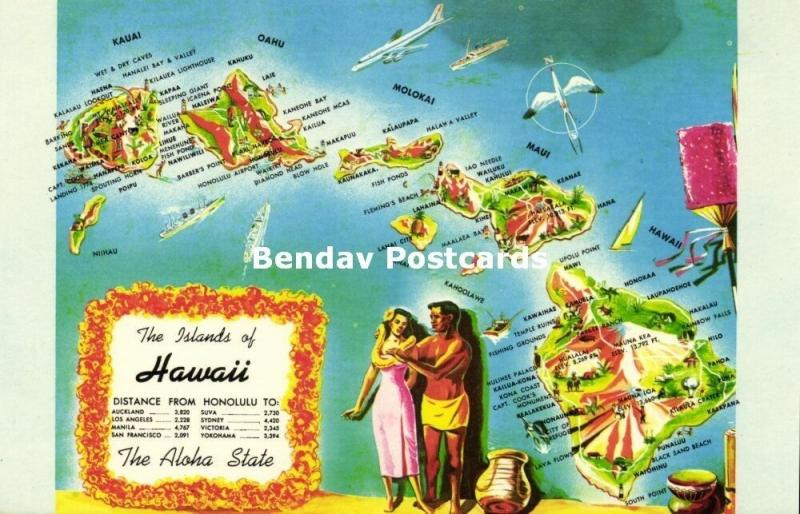 Hawaii Islands, The Aloha State, MAP Postcard (1960s)