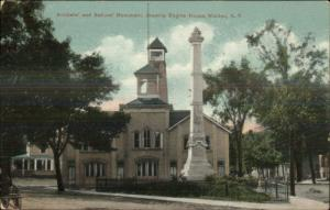Walden NY Fire Engine House & Monument Used 1910 Postcard
