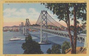San Francisco Oakland Bay Bridge From Yerba Buena Island Looking Toward San F...