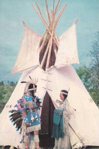 Indian Princess welcoming warrior to teepee,  Pawnee,  Oklahoma,  40-60s